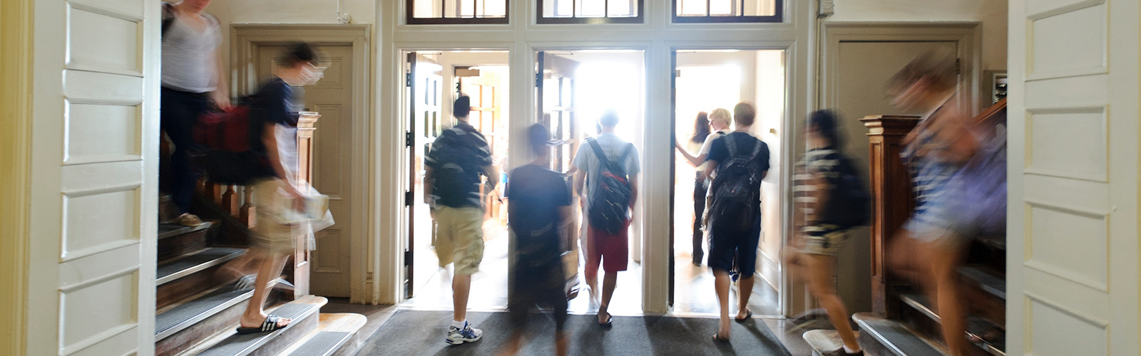 Students make their way through the front doors of Bascom Hall on the first class day of the new academic year at the University of Wisconsin-Madison on Sept. 2, 2011.
