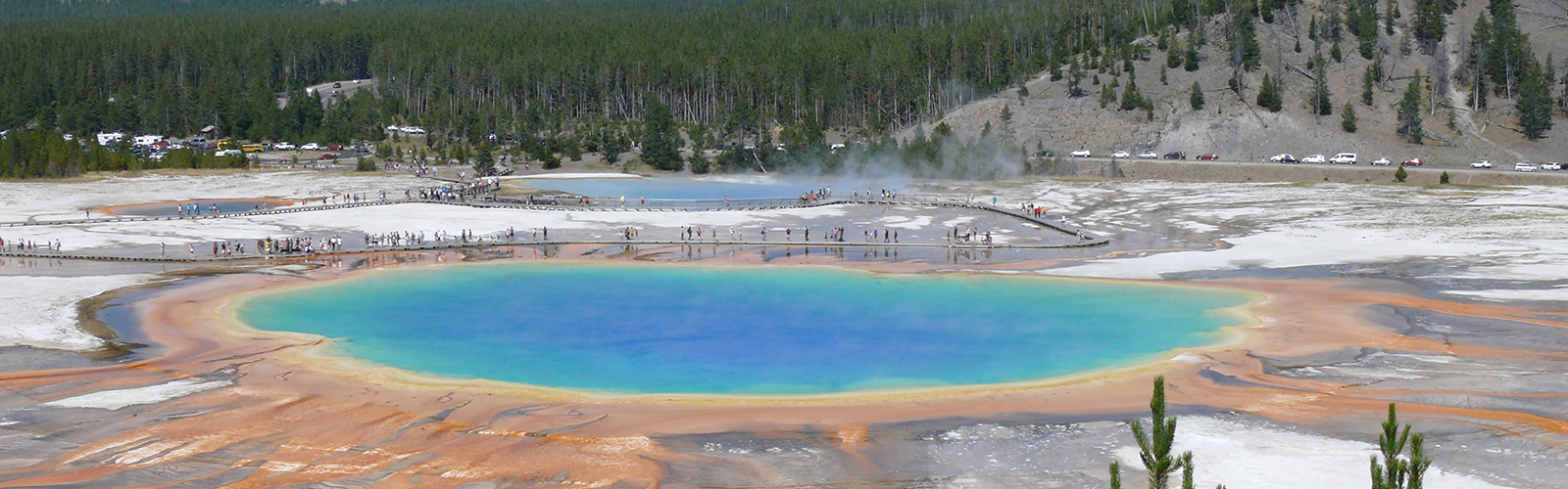 A photograph of a colorful prismatic pool taken by a UW-Madison Geosciences professor.
